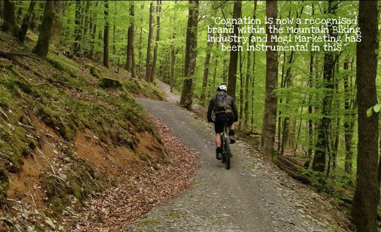 cognation mountain biking social media marketing image and quote with MTB rider in Brechfa forest